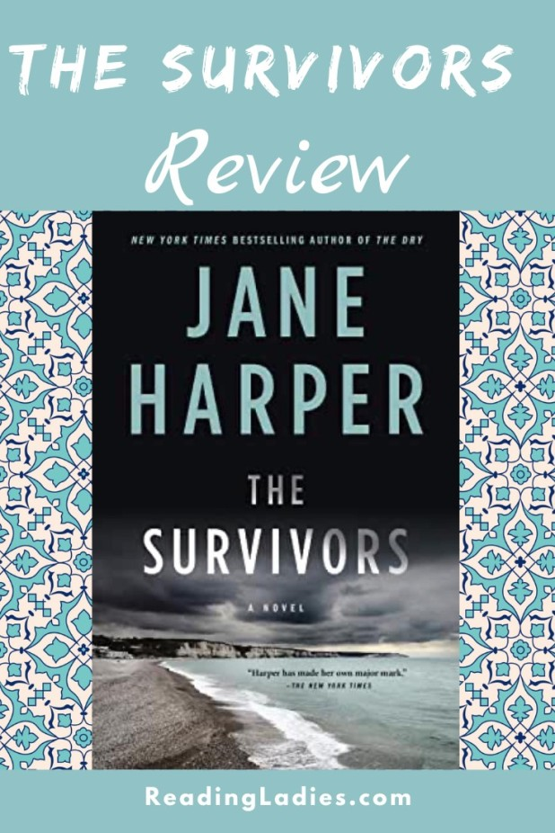 The Survivors by Jane Harper (cover) Image: a blue toned view of a beach and low cliffs