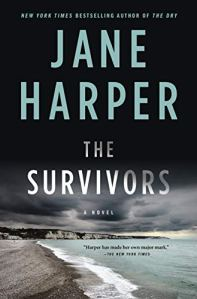 The Survivors by Jane Harper (cover) a blue toned picture of a coast with small cliffs
