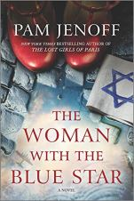 The Woman With the Blue Star by Pam Jenoff (cover) Image: a tight focus on a pair of red shoes and a drawing of the Star of David on a cobblestone path