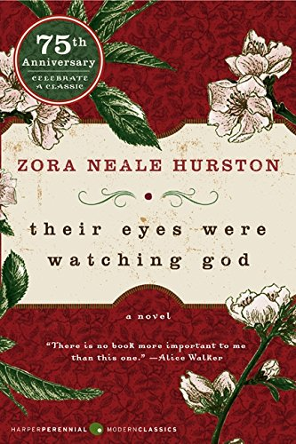 Their Eyes Were Watching God by Zora Neale Hurston (cover) Image: white text with a maroon top and bottom border and branches with white blooms