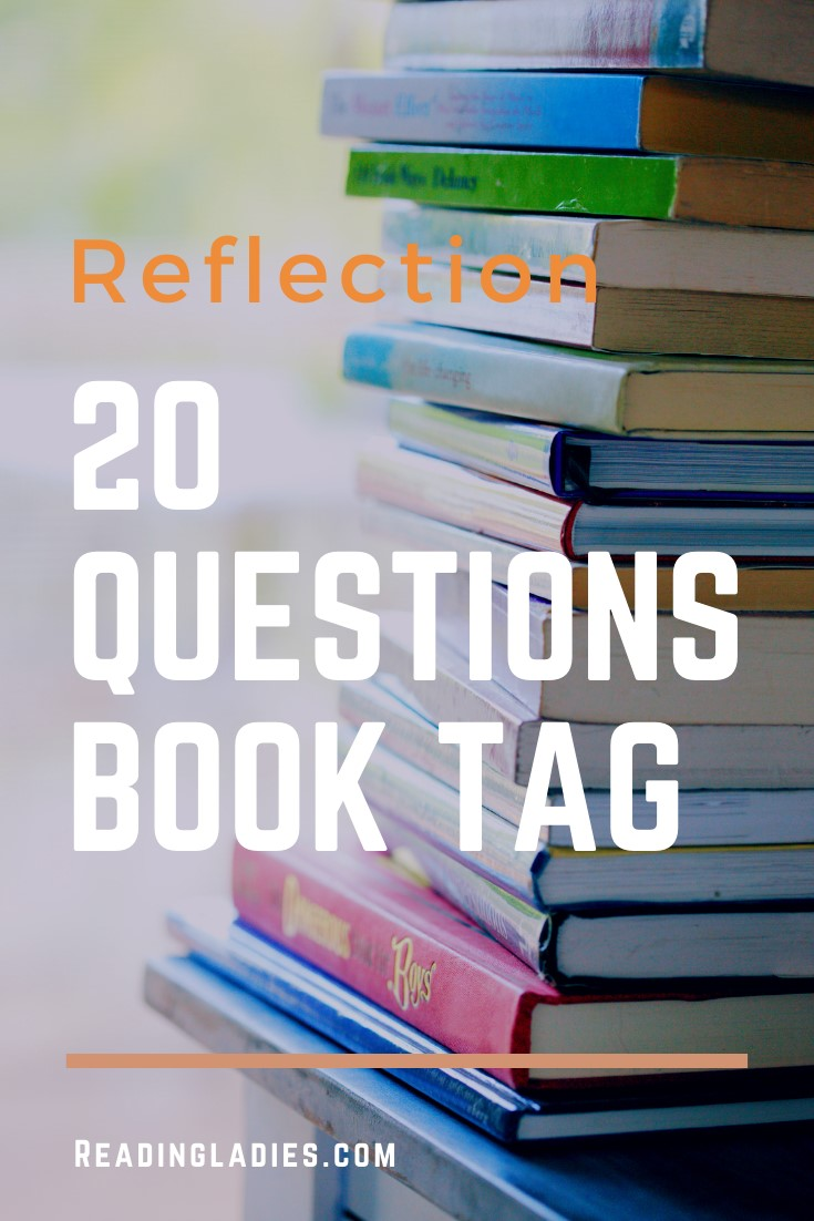 20 Questions Book Tag (text over a background of a tall stack of books)