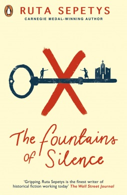 Fountains of Silence by Ruta Sepetys (cover) Image: a large old black key lies over a large red X...small black images of a male and female and a building rest on the horizontal key