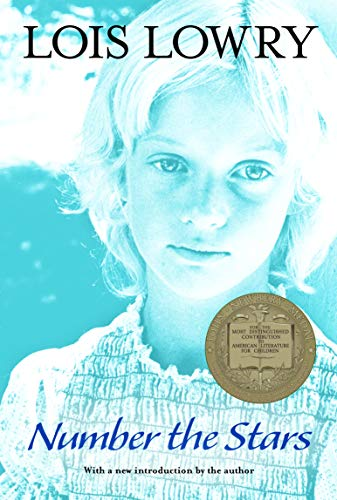 Number the Stars by Lois Lowry (cover) Image: a head shot of a young blond haired girl (in blue tones)
