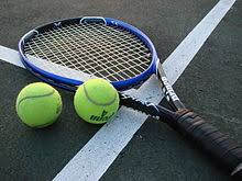 a tennis racket and two tennis balls lying on the tennis court