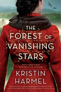 The Forest of Vanishing Stars by Kristin Harmel (cover) Image: the back view of a woman wearing a red coat overlooking a landscape with planes flying overhead