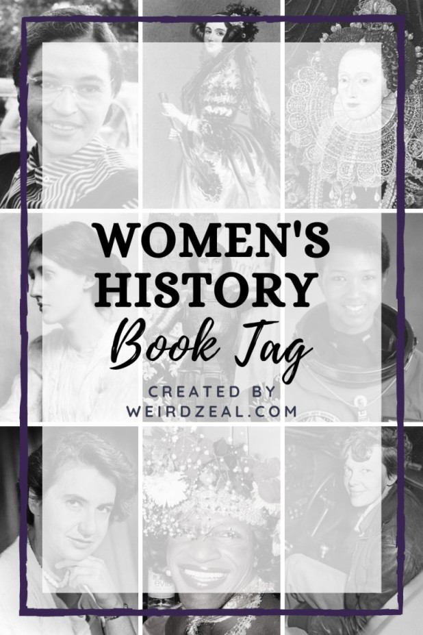 Women's History Book Tag (text over a background of women's faces