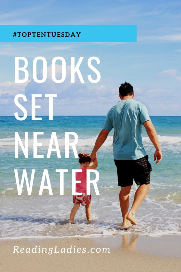 Books Set Near Water (white text over a background of a father walking with his young daughter in the surf)