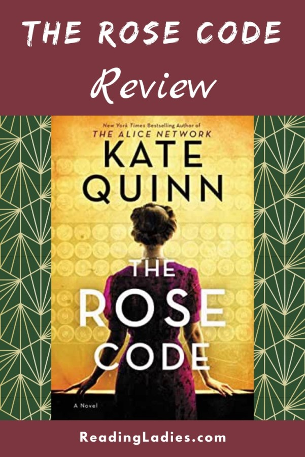 The Rose Code by Kate Quinn (cover) Image: a woman in a rose colored dress stands with her back to the camera facing a gold machine