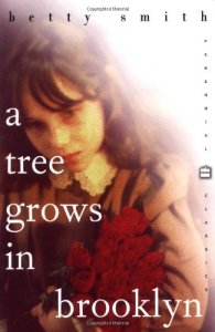 a Tree Grows in Brooklyn by Betty Smith (cover) Image: a young girl casts a sad downward look