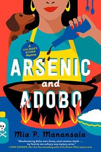 Arsenic and Adobo by Mia Manansala (cover) Image: colorful graphic of a girl seasoning a pot of ethnic ifood