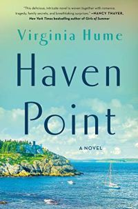 Haven Point by Virginia Hume (cover) Image: blue text over a background of a house on the point of a shoreline