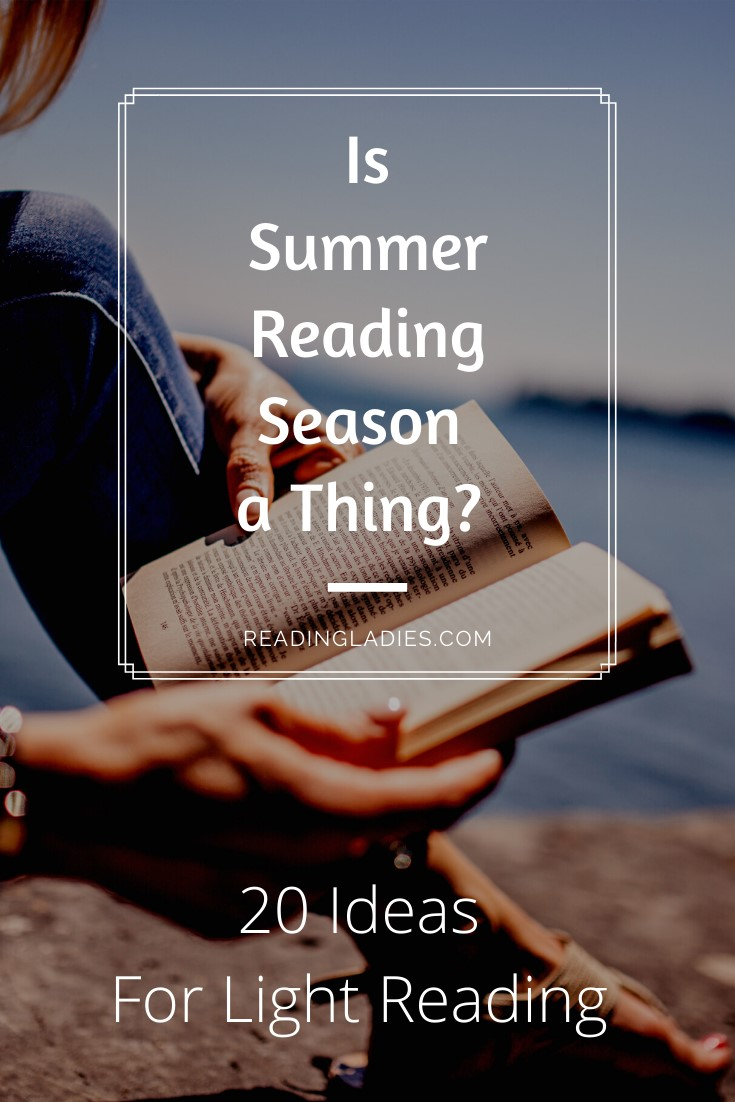 Is Summer Reading Season a Thing text over a photo background of a woman reading next to water