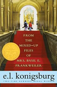 The Mixed Up Files of Mrs. Basil E. Frankwiler by E.L. Konigsburg (cover) Image: two young children walk up the red carpeted steps into a museum