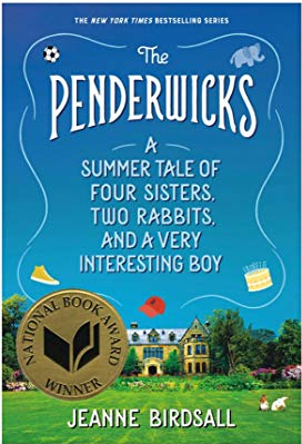 The Penderwicks by Jeanne Birdsall (cover) Image: white text in the sky over a large house surrounded by green lawn and trees