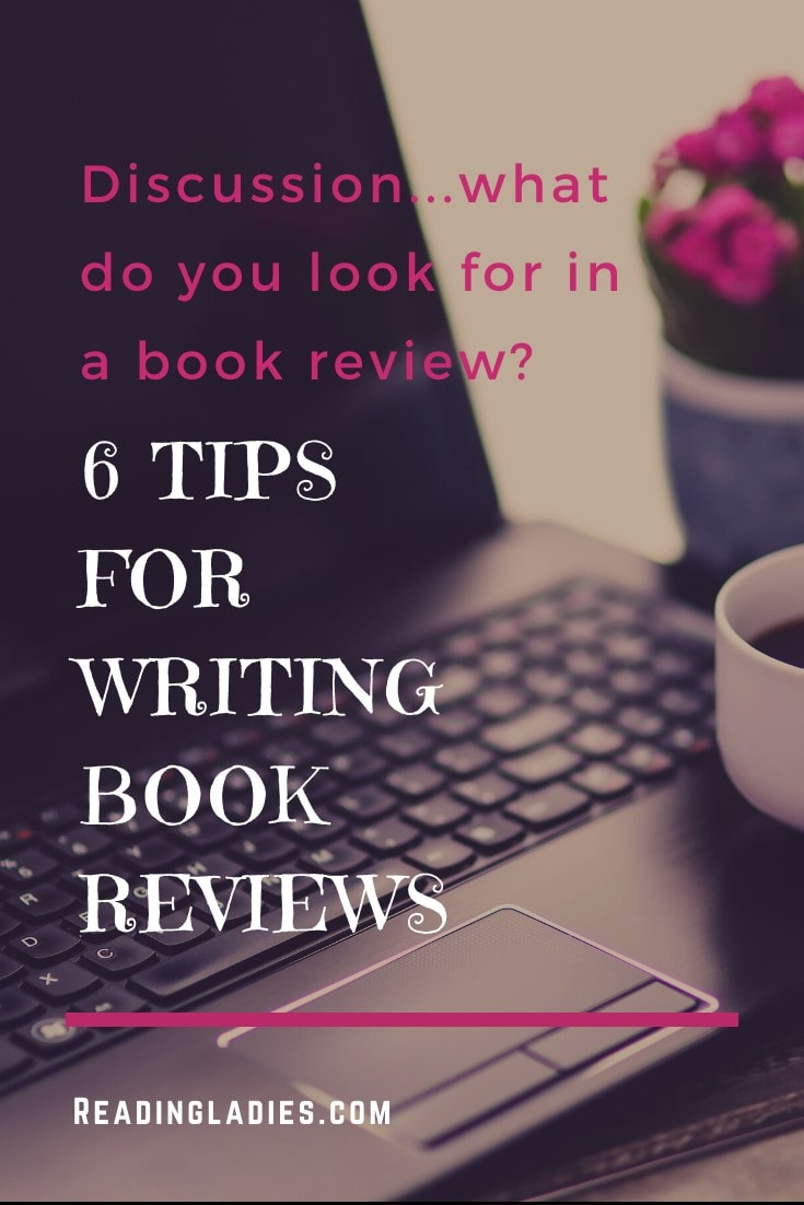 6 Tips For Writing Blog Reviews (white and bright pink lettering over an open laptop/cup of coffee/pot of pink flowers background