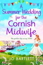A Summer Wedding for the Cornish Midwife by Jo Bartlett (cover) Image: A young woman stands on a bluff holding a bouquet of flowers and overlooking a small seaside village