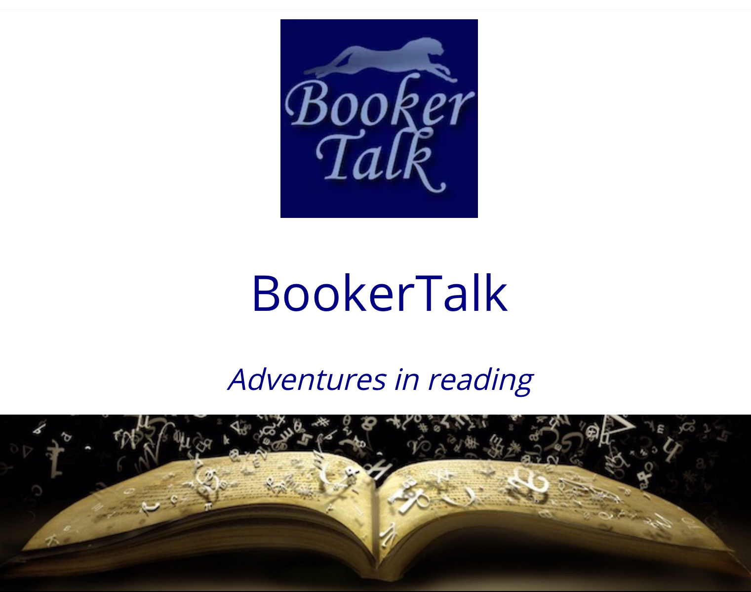 """Booker Talk Blog header (Blue text above an open book with letters floating off the page"""""""