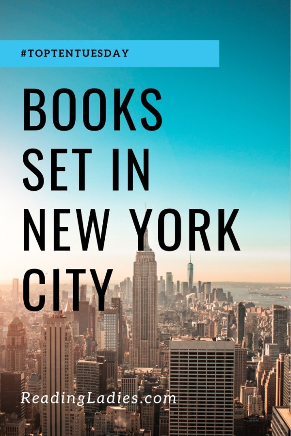 Books Set in New York City (Image: black text over a background of New York City)