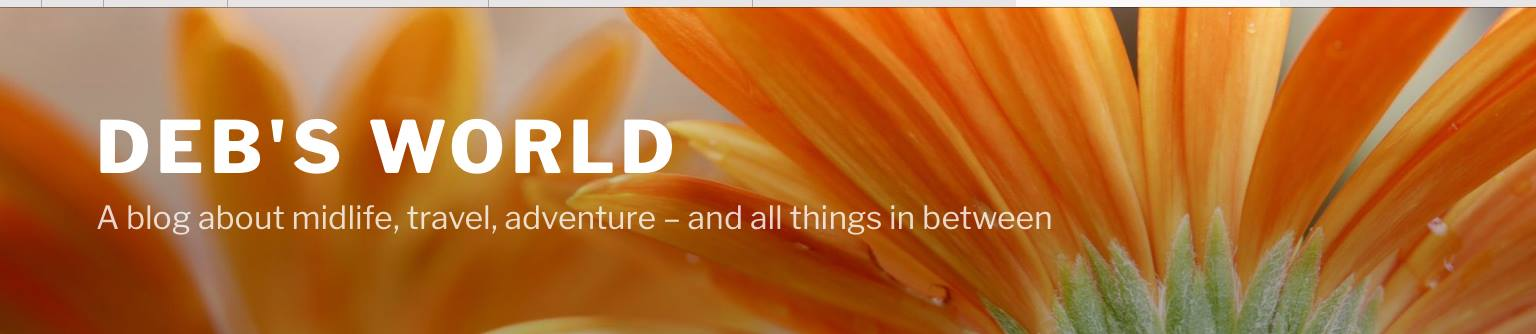 Deb's World blog header (white text over a partial sunflower
