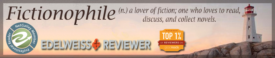 Fictionophile blog header (lighthouse on rocky land plus text)