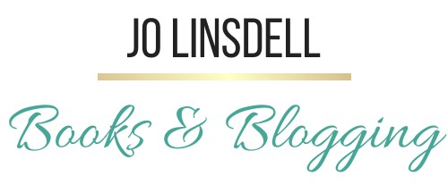 Jo Linsdell Books & Blogging (black, gold, and teal text on white background)