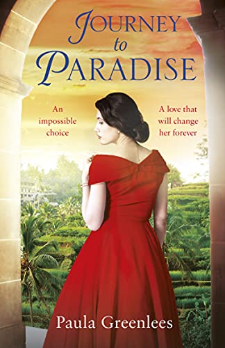 Journey to Paradixe by Paula Greenlees (cover) Image: a young woman in a red off the shoulder dress faces away from the camera and glances over her left shoulder