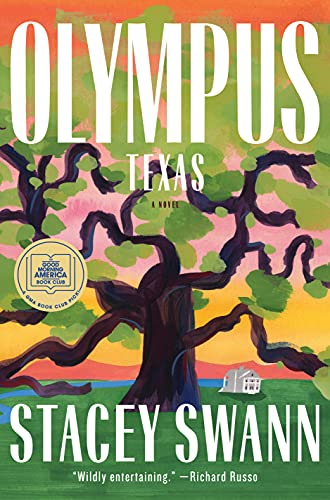 Olympus Texas by Stacey Swann (cover) Image: white text over the graphic image of a large tree with leaves