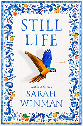Still Life by Sarah Winman (cover) Image: blue text, a beautiful blue bird, and a border trimmed in blue design