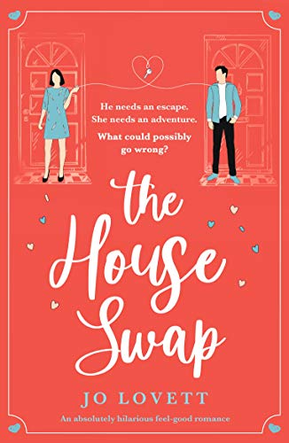 The House Swap by Jo Lovett (cover) Image: white text on a coral pink background ...a graphic of a young man and woman standing by their respective front doors