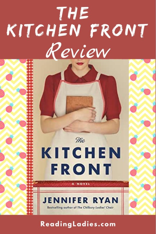 The Kitchen Front by Jennifer Ryan (cover) A woman dressed in a red bouse and white apron holds a cookbook to her chest
