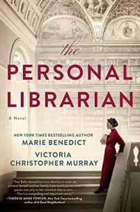 The Personal Librarian by Marie Benedict and Virginia Murray (cover) Image: a young woman in a long red dress stands along the banister of a set of grand stairs