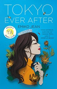 Tokyo Ever After by Eiko Jean (cover) Image: white text and the grahic image of a young asian girl holding flowers and wearing a small crown against a blue background