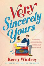 Very Sincerely Yours by Kerry Winfrey (cover) graphic image of a young man and young woman sitting on either side of a large red typewriter