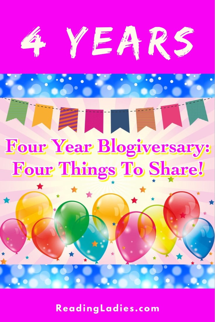 Four Year Blogiversary: Four things to Share (banner, balloons, confetti)