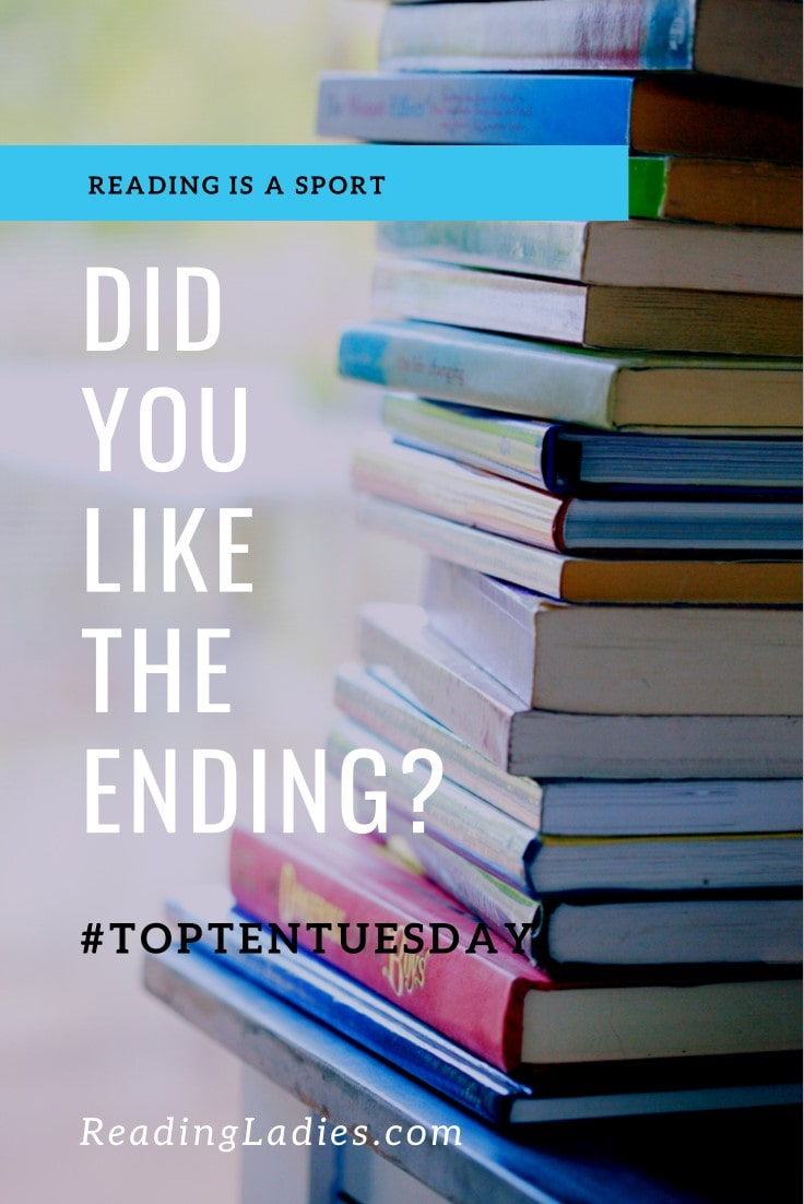 Did You Like the Ending? white text over a background stack of hardback books on a blue wooden table