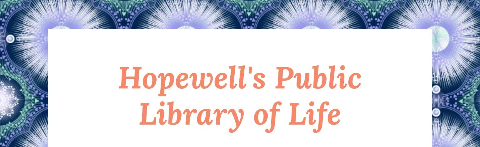 Hopewell's Public Library of Life blog header (pink text on white background surrounded by a blue patterned border)