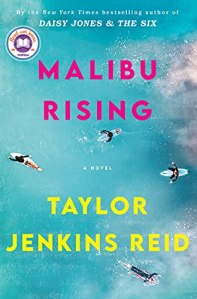 Maliby Rising by Taylor Jenkins Reid (cover) Image: pink and yellow text over an ocean coastline scene