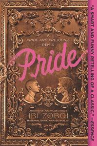 Pride by Ibi Zoboi (cover) Image: purple text on a brown background