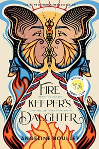 The Firekeeper's Daughter by Angeline Boulley (cover) Image: the profiles of two native american young People (man and woman) in cultural dress