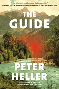 The Guide by Peter Heller (cover) Image: a mountain stream surrounded by hills, trees, and fall color