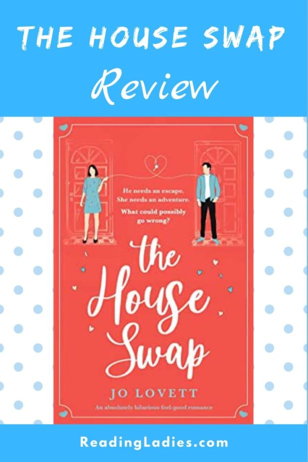 The House Swap by Jo Lovett (cover) Image: white text on a salmon background...graphic images of a young man and woman above the title