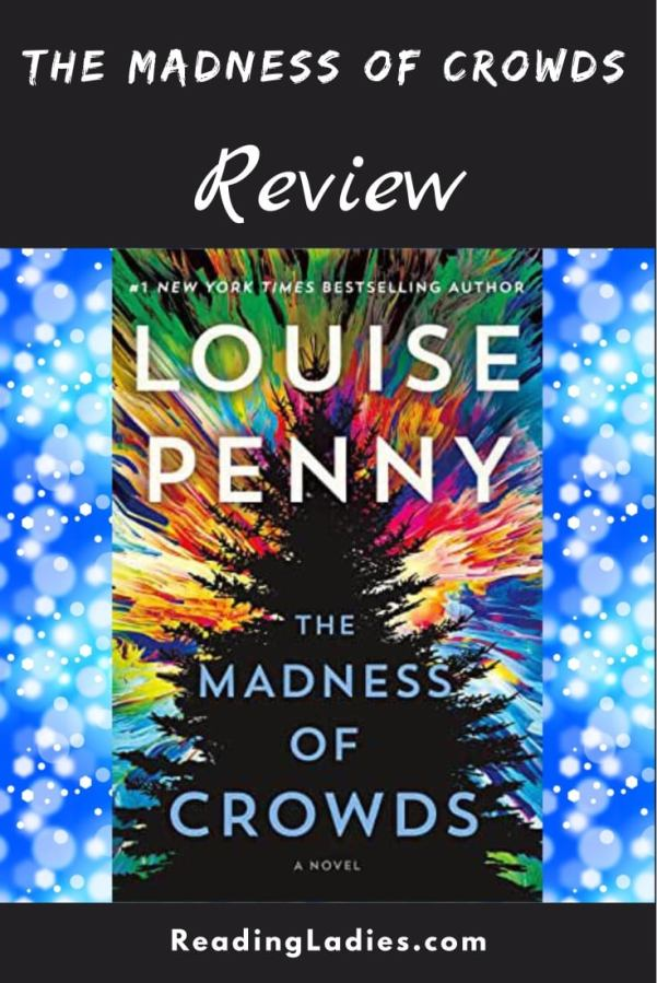 The Madness of Crowds by Louise Penny (cover) Image: white and light blue text over the background of the graphic silhouette of a pine tree with sunburst of various bright colors behind the tree