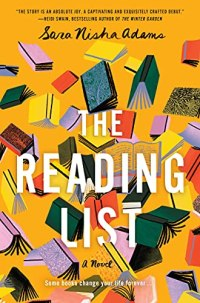 The Reading List by Sara Nisha Adams (cover) white text overe a graphic image of scattered open books