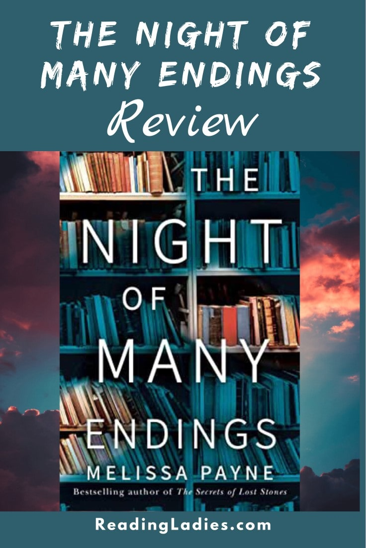 The Night of Many Endings by Melissa Payne (cover) Image: white text over a background of shelved books